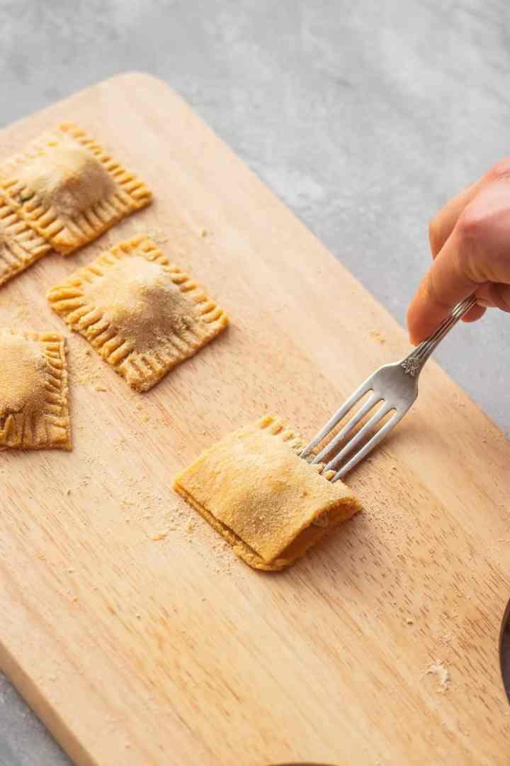 Homemade vegan ravioli process