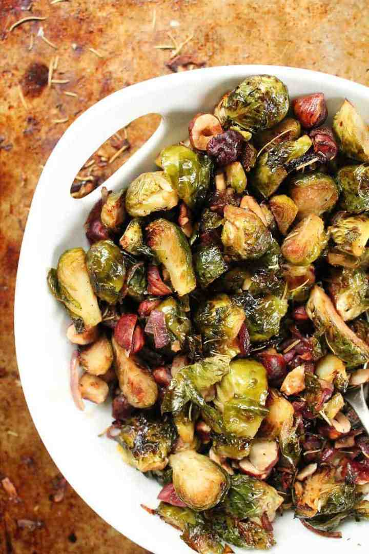 Maple balsamic Brussels sprouts with hazelnuts and rosemary My Darling Vegan