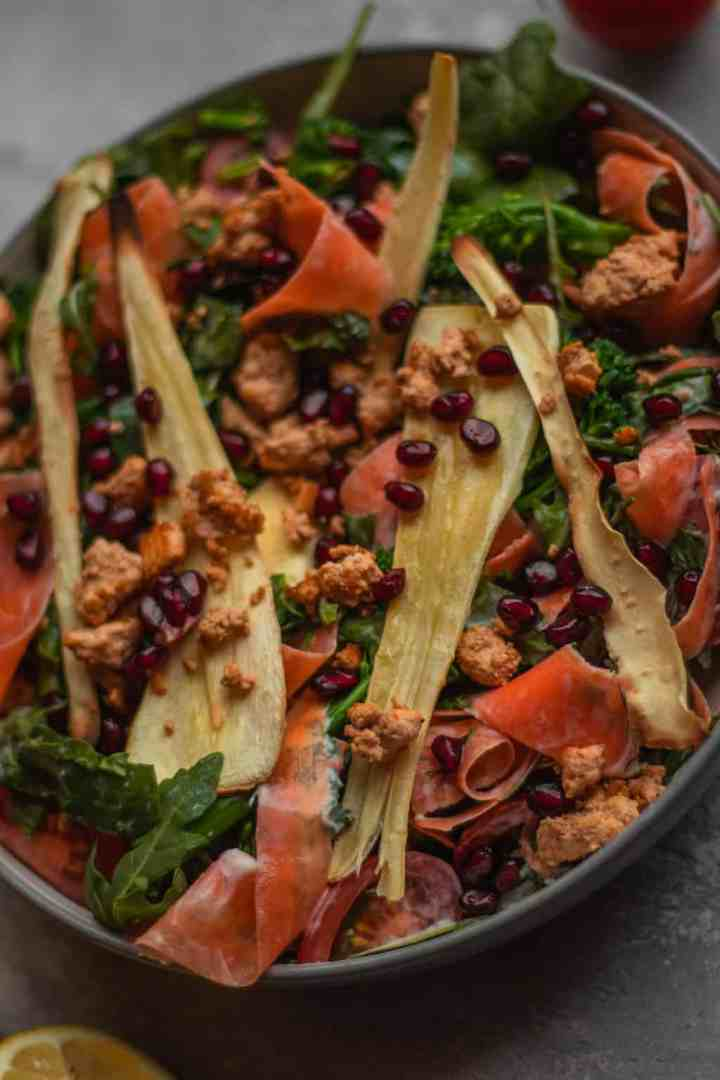 Easy vegan winter salad with tofu and parsnip