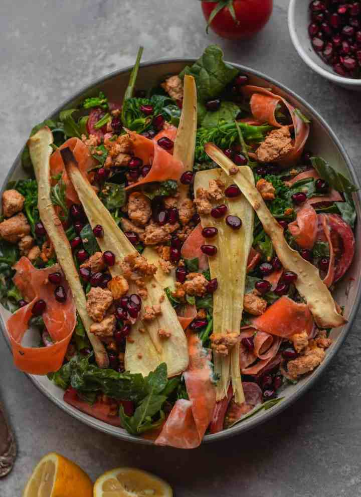 Parsnip and tofu vegan winter salad