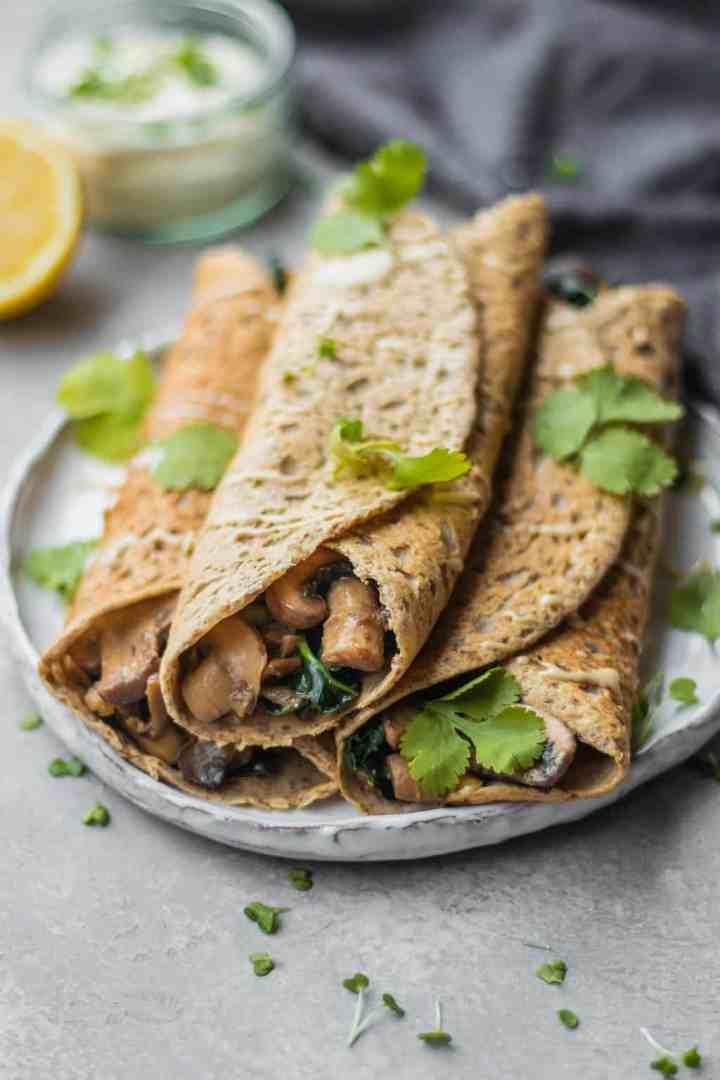 Savoury crepes with kale and mushrooms