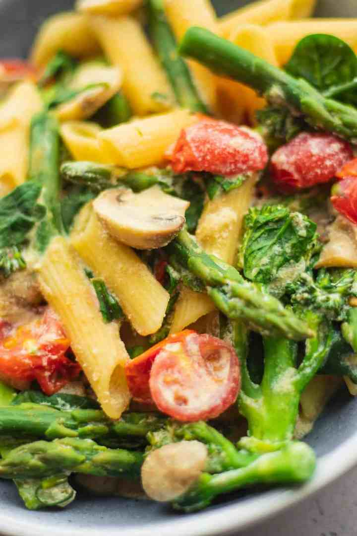 Creamy tofu pasta with vegetables vegan