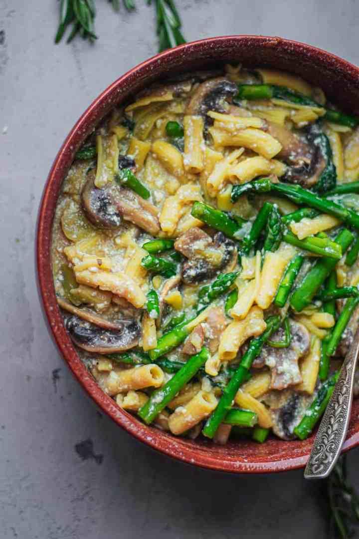 Bowl of gluten-free creamy tofu pasta