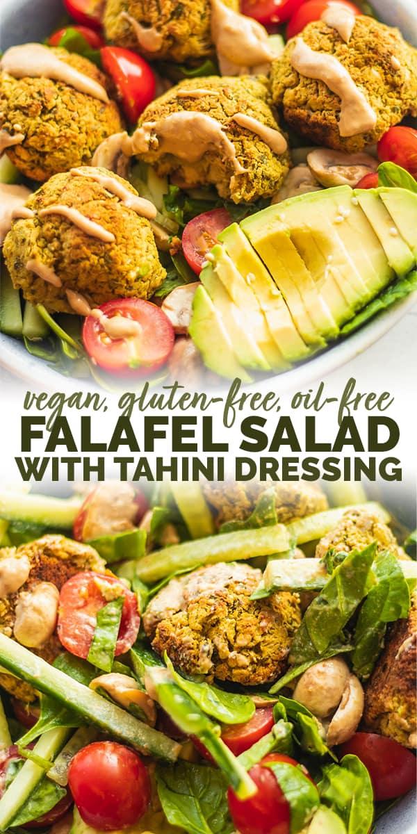 Vegan falafel salad with tahini dressing