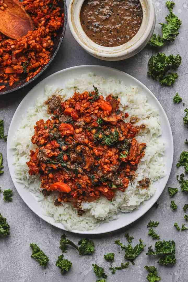 Vegan lentil stew with gluten-free gravy