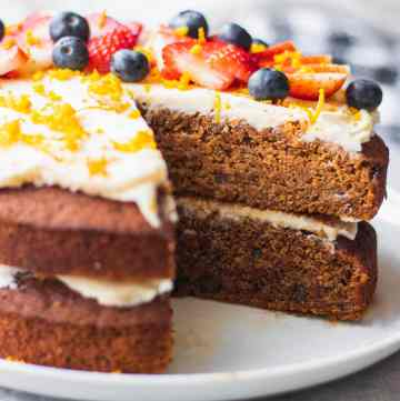 Vegan cake on a white plate