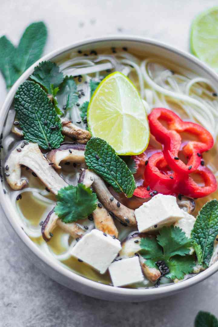 Vegan pho with rice noodles and tofu