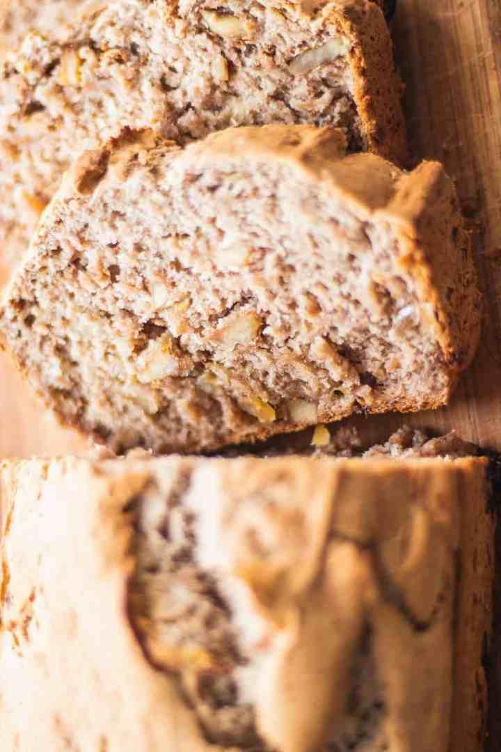 Fluffy vegan bread on a chopping board