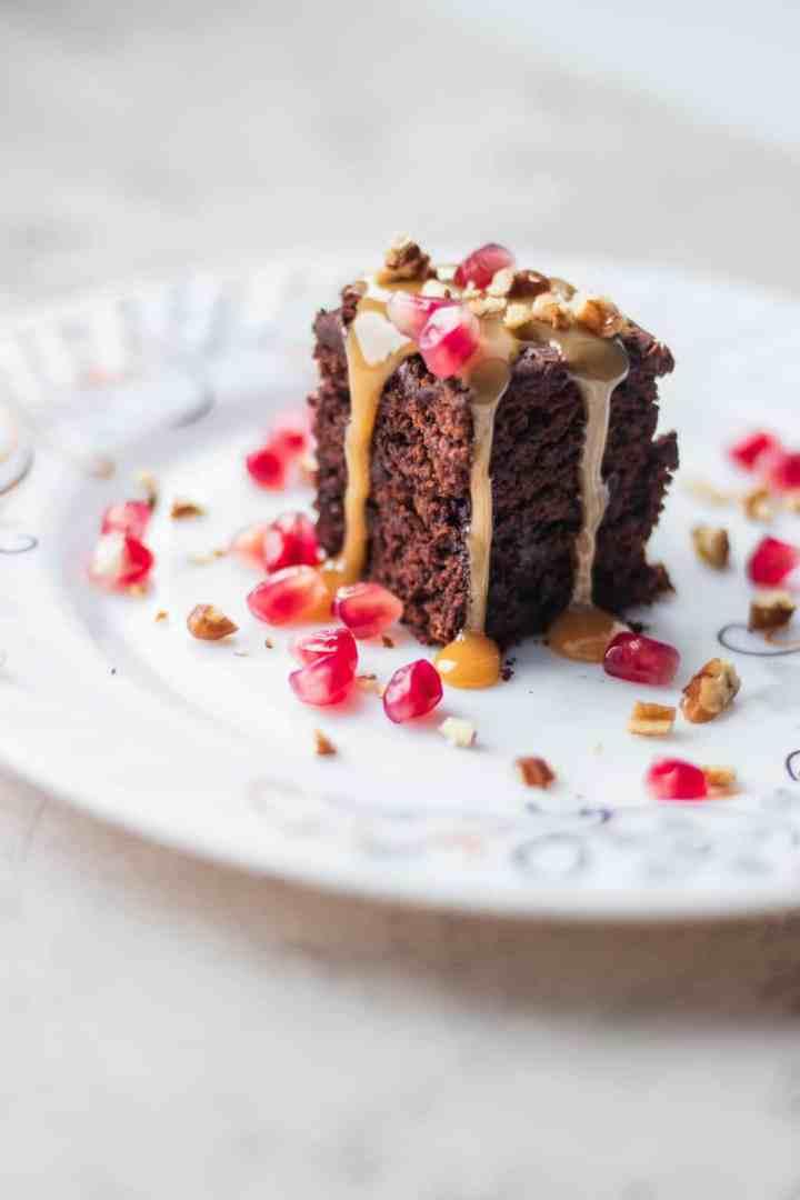 Chocolate dessert on a white plate