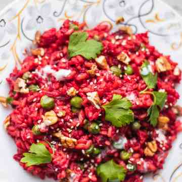 Vegan beetroot risotto gluten-free