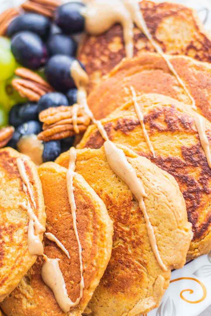 Plate with pancakes and peanut butter