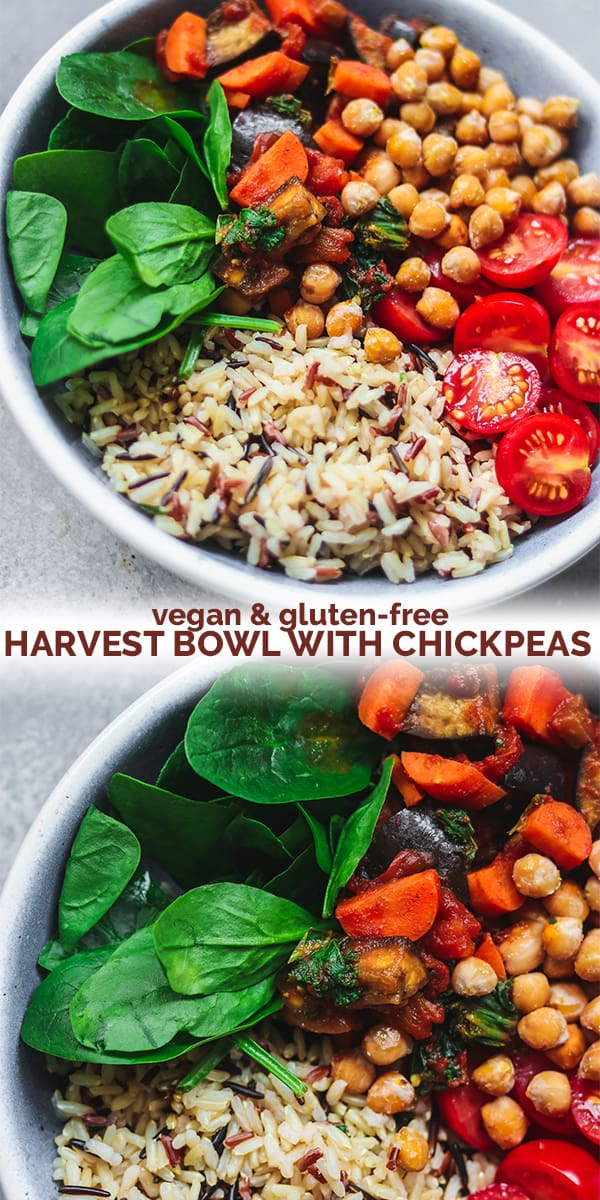 Vegan gluten-free harvest bowl with chickpeas Pinterest