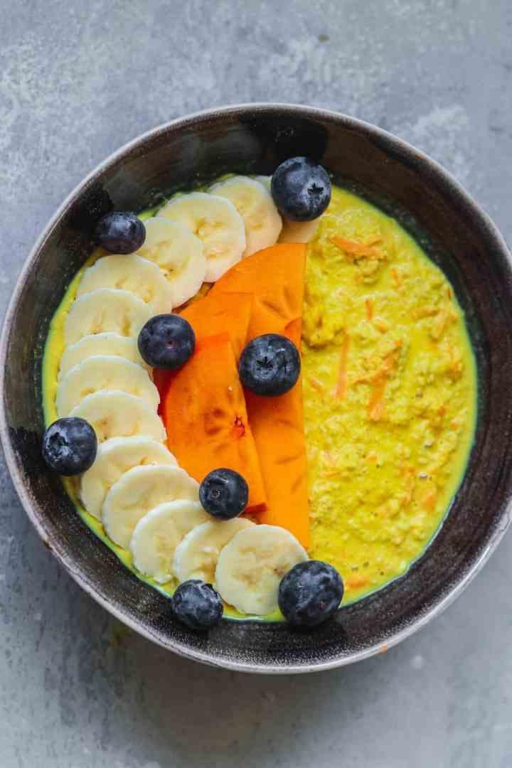 Vegan carrot cake oats in a black bowl