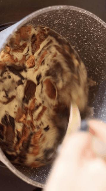 Rehydrating dried porcini mushrooms