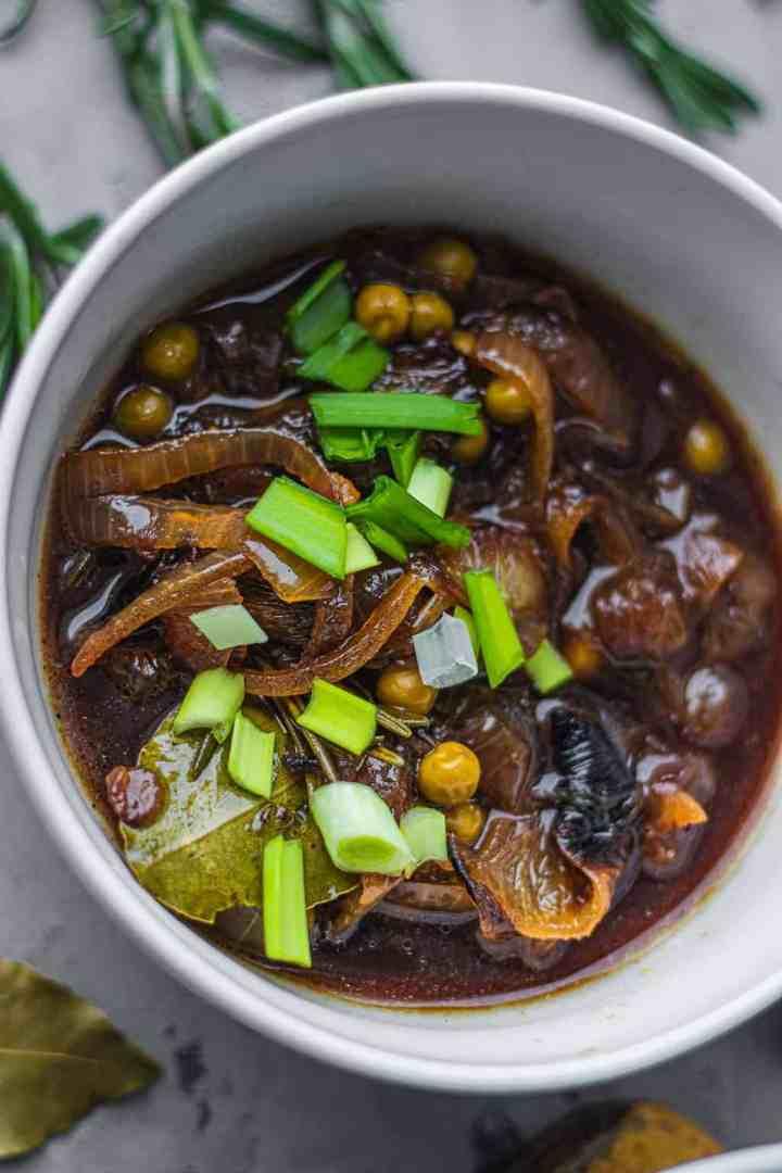 Closeup of vegan soup bowl