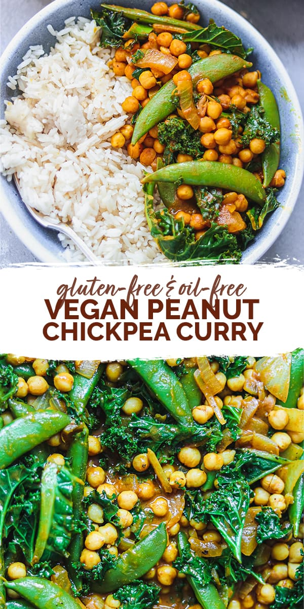 Gluten-free oil-free vegan peanut chickpea curry