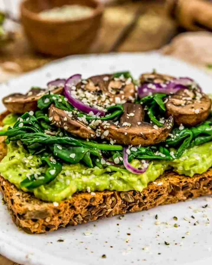 Avocado mushroom spinach toast