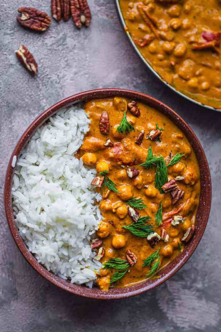 Easy vegan butter chicken with rice
