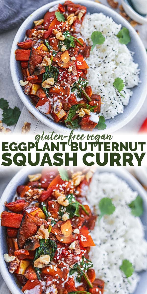 Gluten-free vegan eggplant butternut squash curry Pinterest