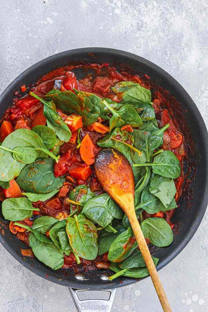 Vegan butternut squash curry in a frying pan