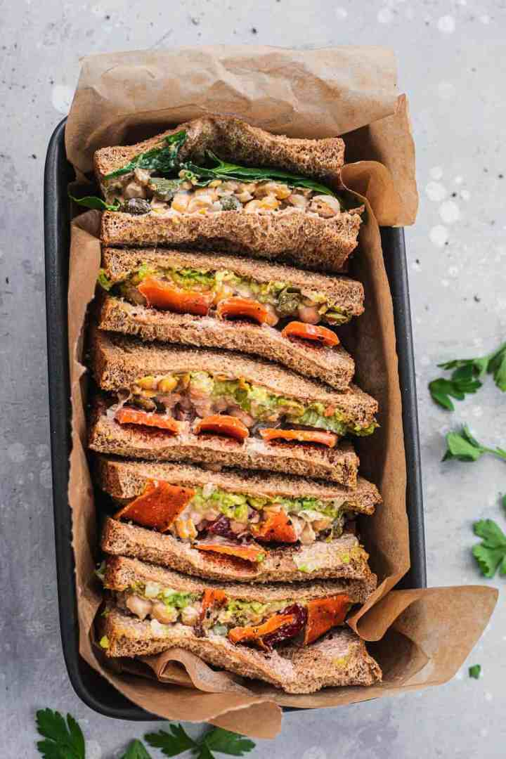 Vegan sandwiches with chickpea 'tuna' and carrots