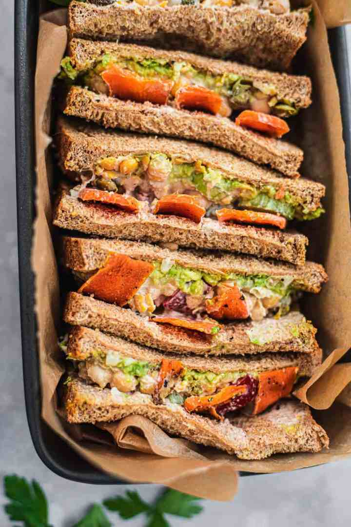 Closeup of a vegan 'tuna' sandwich with vegetables