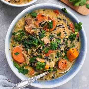 Vegan wild rice soup with jackfruit