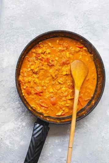 Vegan curry sauce in a frying pan