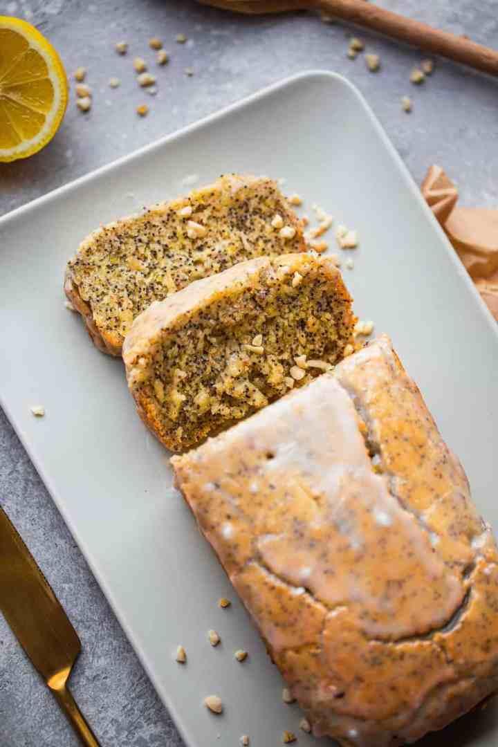 Vegan lemon poppyseed loaf gluten-free