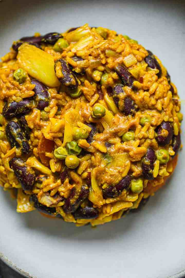 Vegan rice and beans with green peas