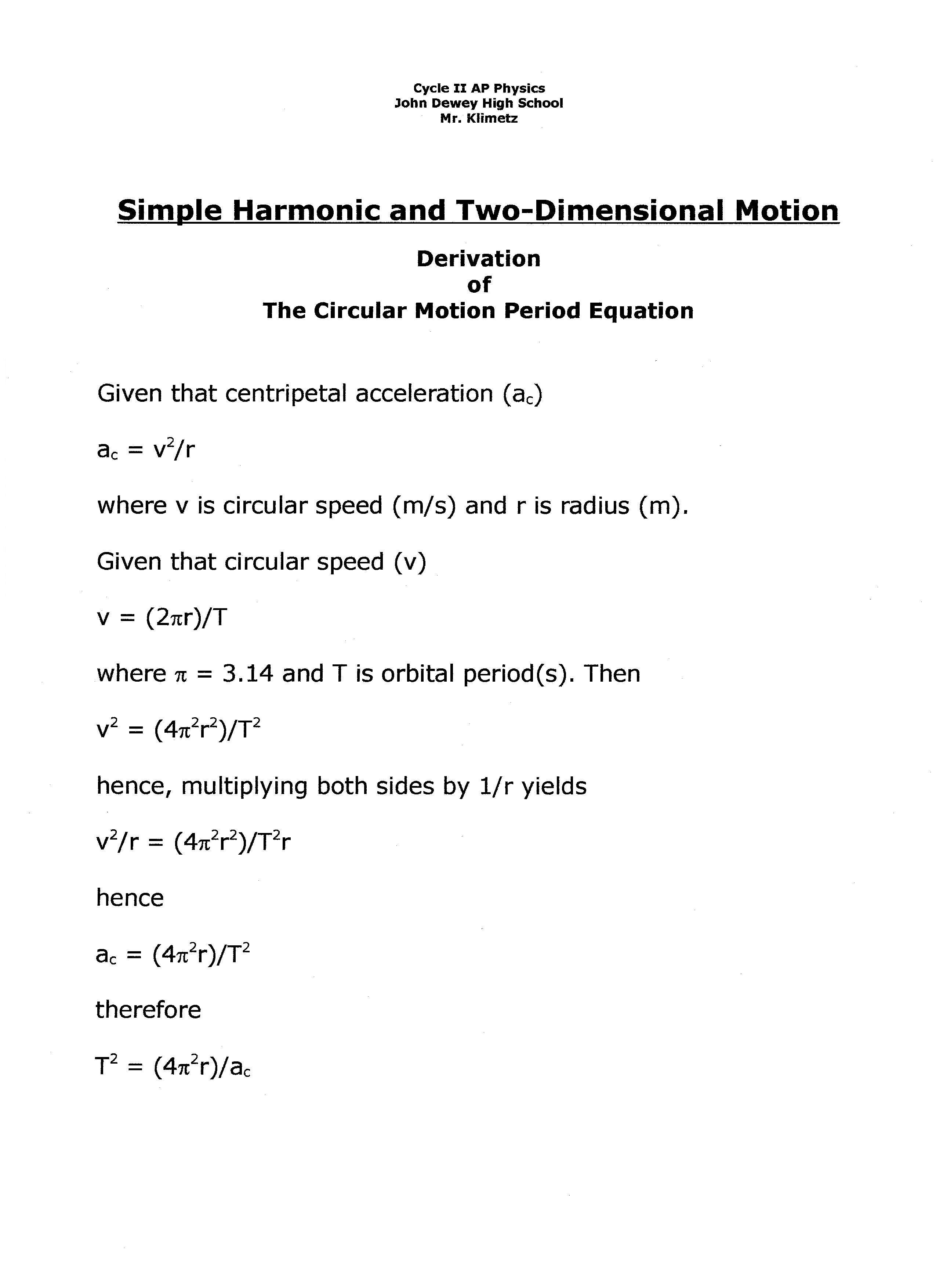 Ap Physics Circular Motion Equations
