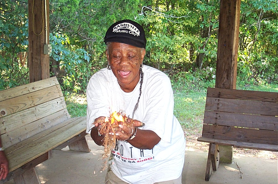 Dorothy Wooten's first friction fire!