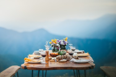 Rich Romantic Dinner on Mountain Top