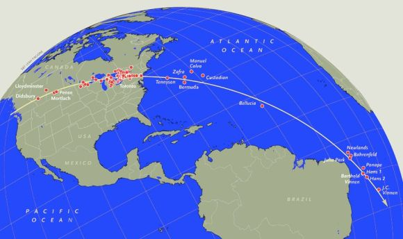 Part of globe with red dots along a great circle line from Yukon to South Atlantic.