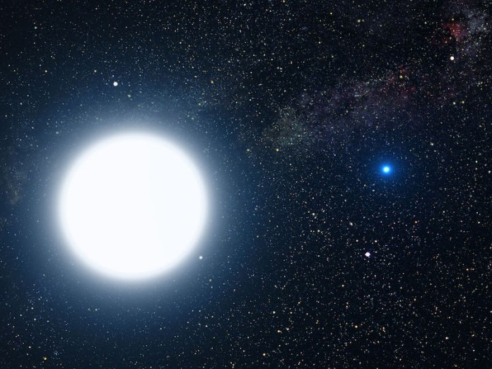 Large white star to the left, tiny blue star to the right, against a star-strewn background.