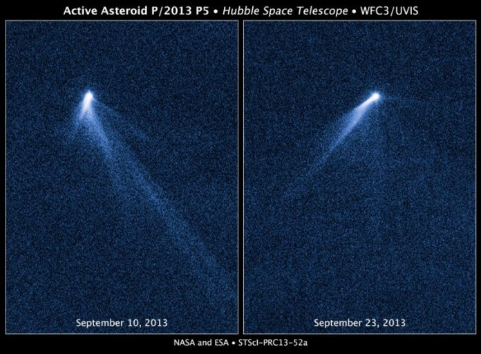 2 images of a small, bright object with 6 wispy, straight tails.