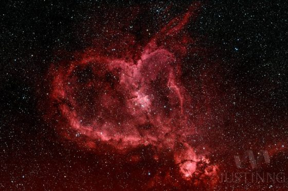 Gas nebula with red heart view and clear heart.