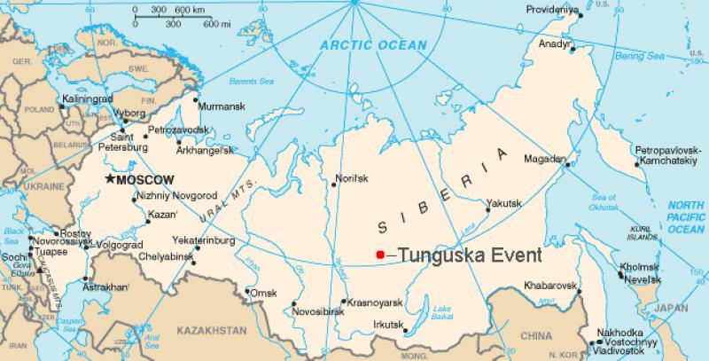 Mapa mundial parcial, mostrando a Rússia com um ponto vermelho no meio da Sibéria.
