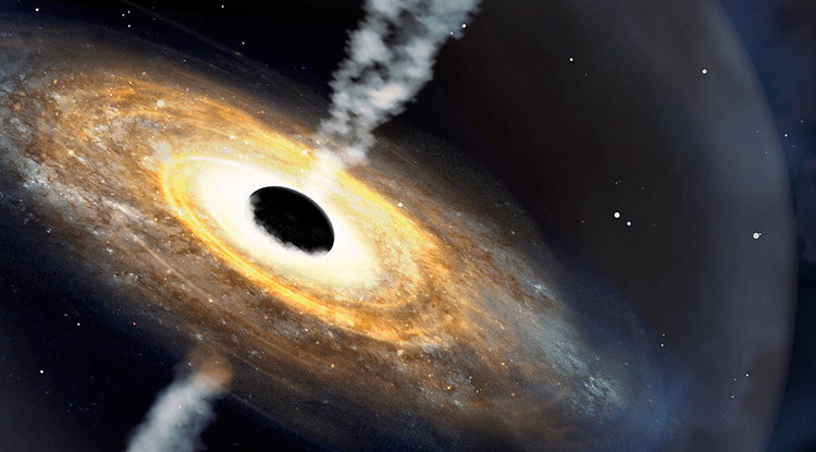 A swirling disk, with a large black ball in its midst, and jets radiating from either pole of the black ball.