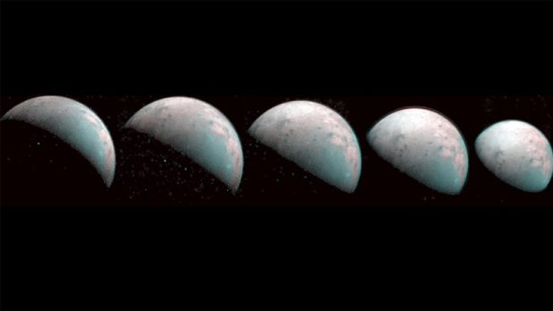 On the black background there are five greyish zones, phases from crescent to gissu.