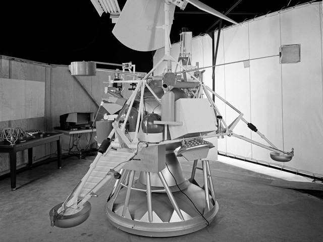 Model of an early lunar lander spacecraft with legs and antennas.