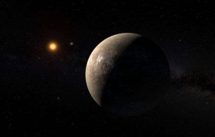 Rocky planet with small reddish star in background.