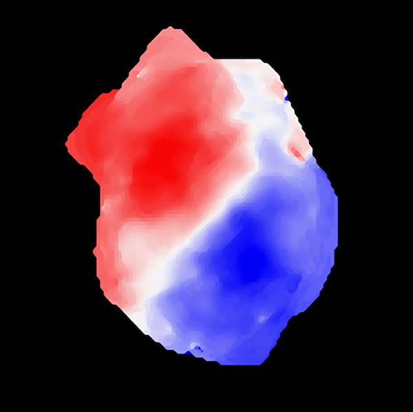 Blob, red on one side and blue on the other, on black background.