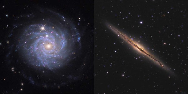 Two galaxies, one seen as a flat spiral in purple, the other as a diagonal line in yellow.