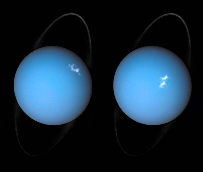 Two blush planets with white spots and thin rings on black background.