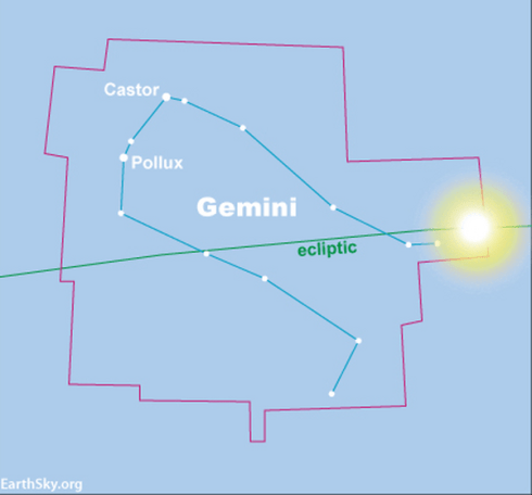 A blue chart, showing the boundaries of the constellation Gemini, as the sun enters Gemini.