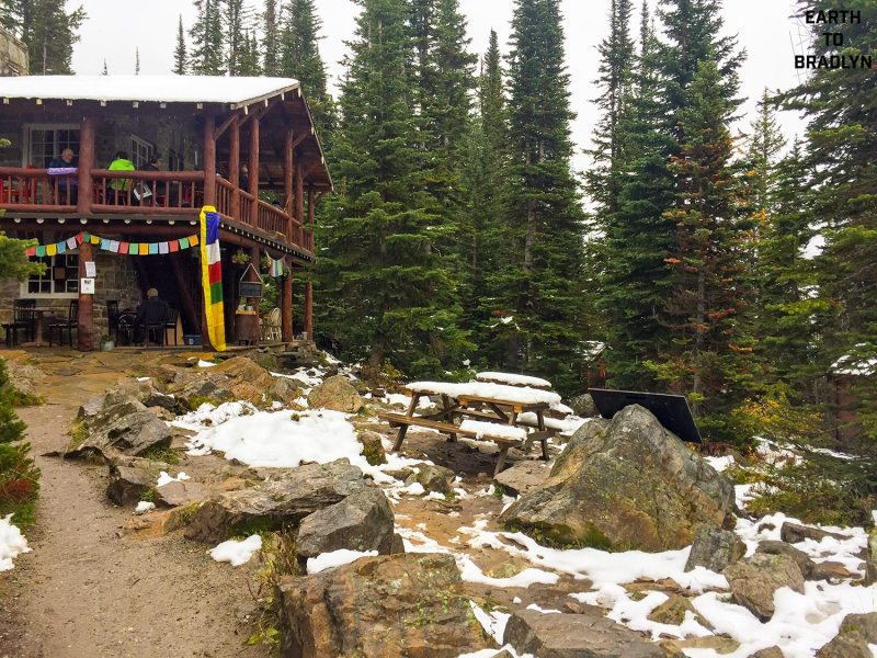 The Swiss built tea house at the end of the plain of six glaciers hike.