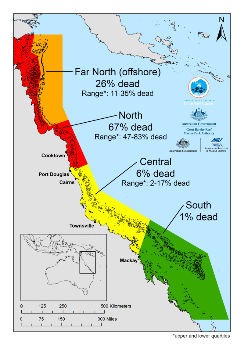 The map, detailing coral loss on Great Barrier Reef, shows how mortality varies enormously from north to south Credit: ARC Centre of Excellence for Coral Reef Studies