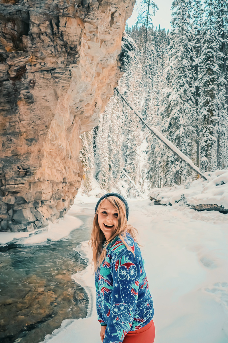 """Johnston Canyon's hidden """"secret"""" cave is even more magical in the winter!"""