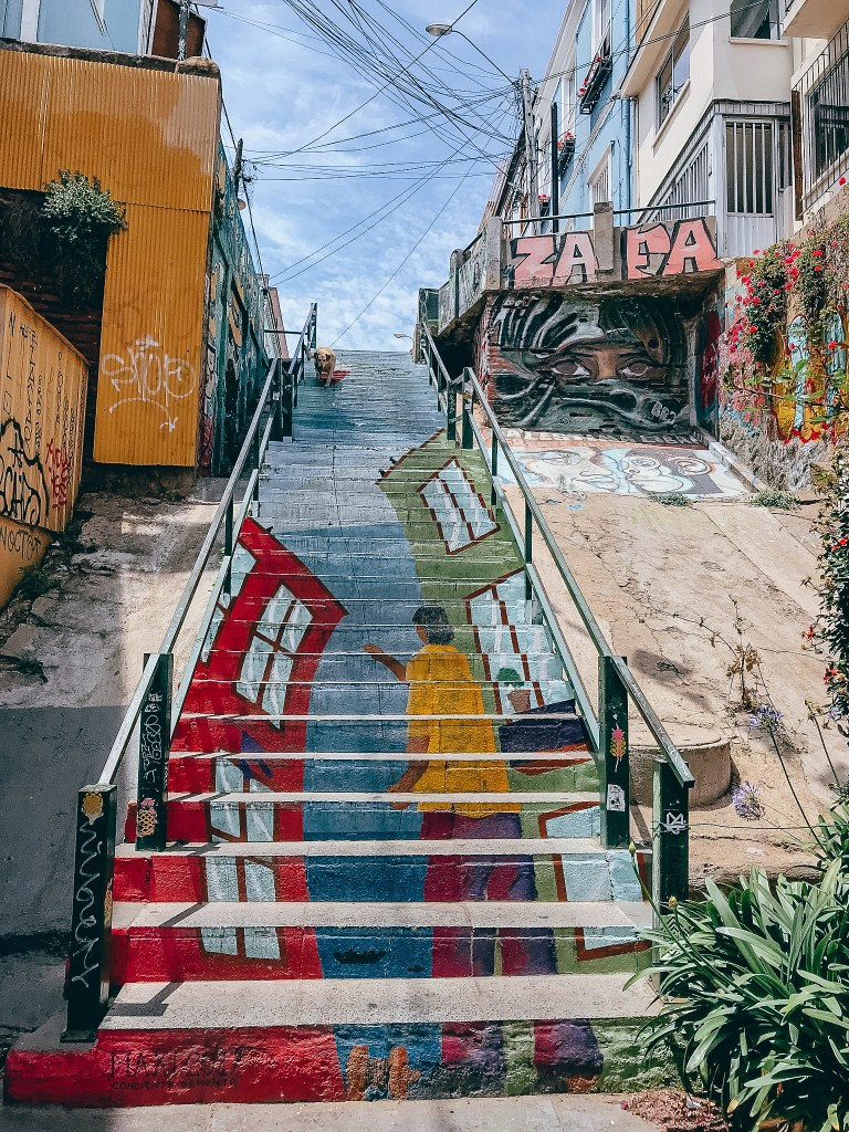 Painted staircase mural in Valparaiso Santiago